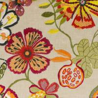 Passion Flower Fabric - Cayenne