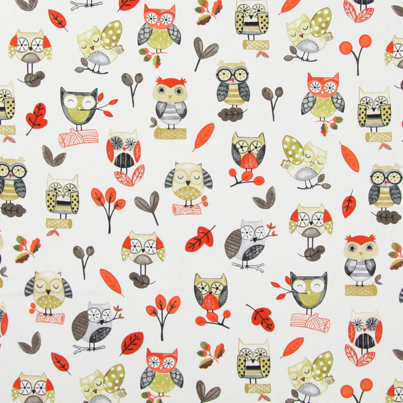 Ollie owl fabric red 5869 300 prestigious textiles for Grey childrens fabric