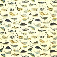 Whale Watching Fabric - Antique