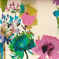 Painted Garden Fabric - Fuchsia