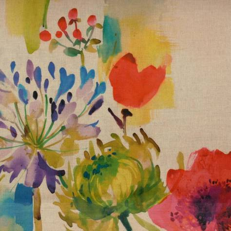 Prestigious Textiles Art & Soul Fabrics & Wallpapers Painted Garden Fabric - Jewel - 8502/632