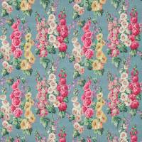Hollyhocks Fabric - Teal/Ruby