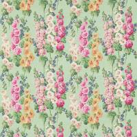 Hollyhocks Fabric - Mint/Pink