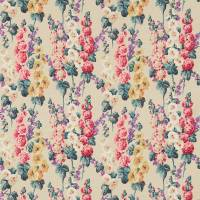 Hollyhocks Fabric - Petrol Blue/Multi