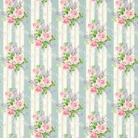 Cecile Rose Fabric - Duck Egg/Rose