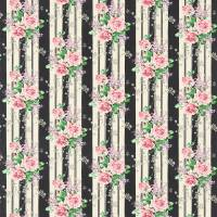 Cecile Rose Fabric - Ebony/Rose
