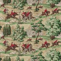 Tally Ho Fabric - Evergreen/Crimson
