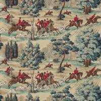 Tally Ho Fabric - Teal/Ruby