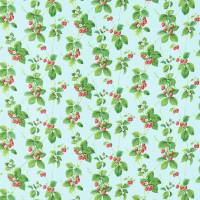 Summer Strawberries Fabric - Strawberry/Sky