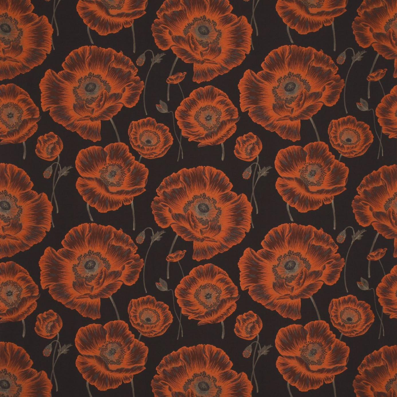 Curtains In Oriental Poppy Fabric Chocolate Orange Dorior302 Sanderson Oriental Poppy