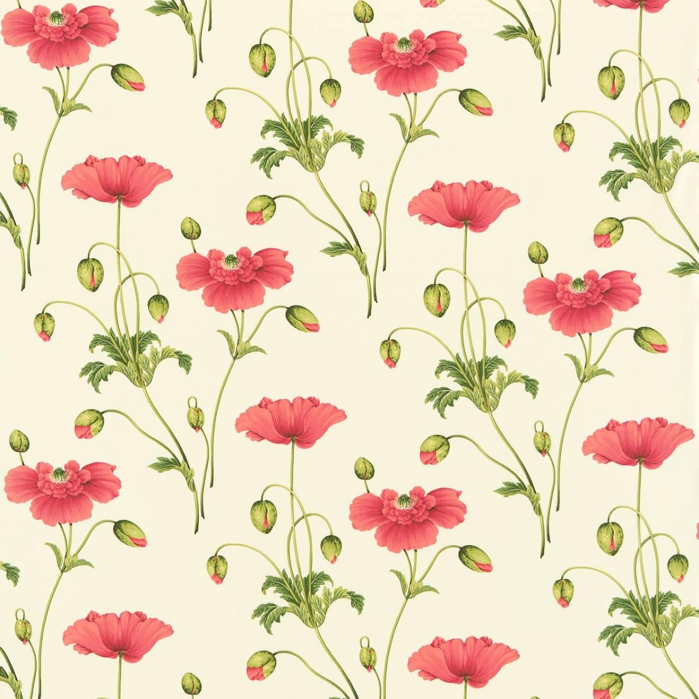 persian poppy fabric red green dpfppp201 sanderson. Black Bedroom Furniture Sets. Home Design Ideas
