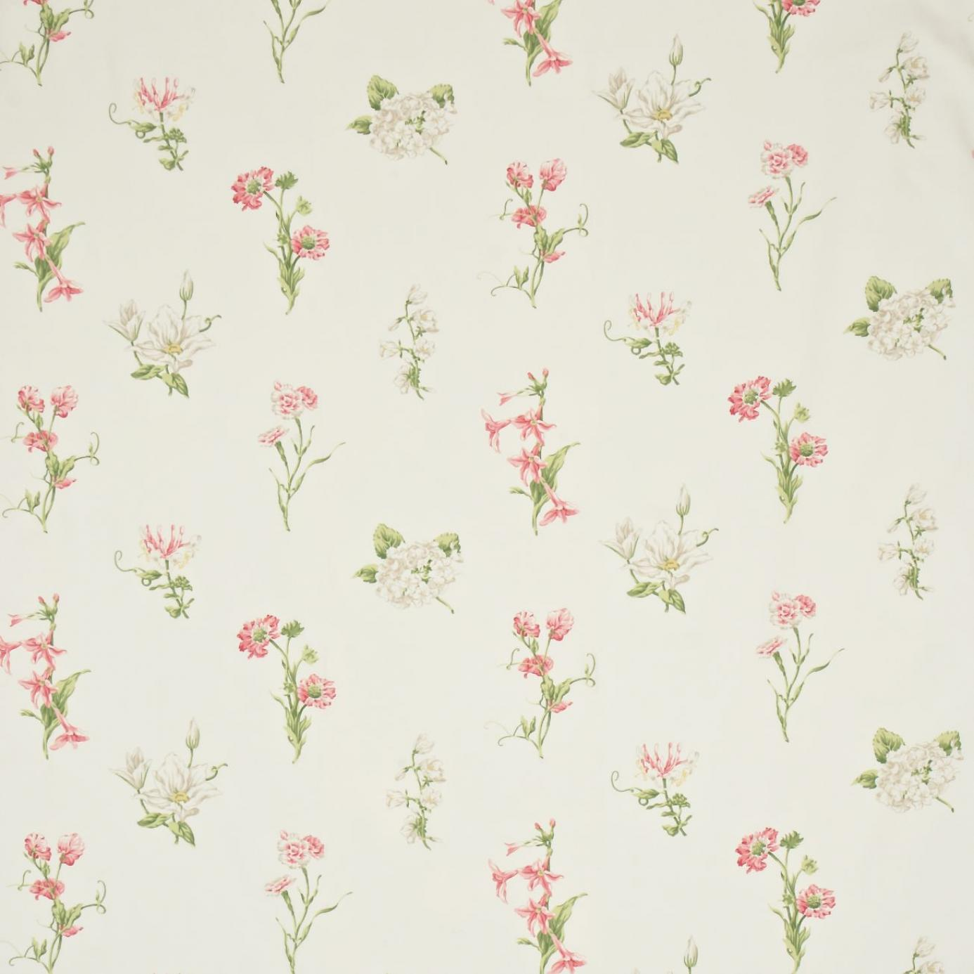 Country Flowers Fabric Ivory Pink Dpemco203