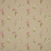 Country Flowers Fabric - Linen/Cerise