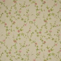 Passion Flower Fabric - Linen/Cerise