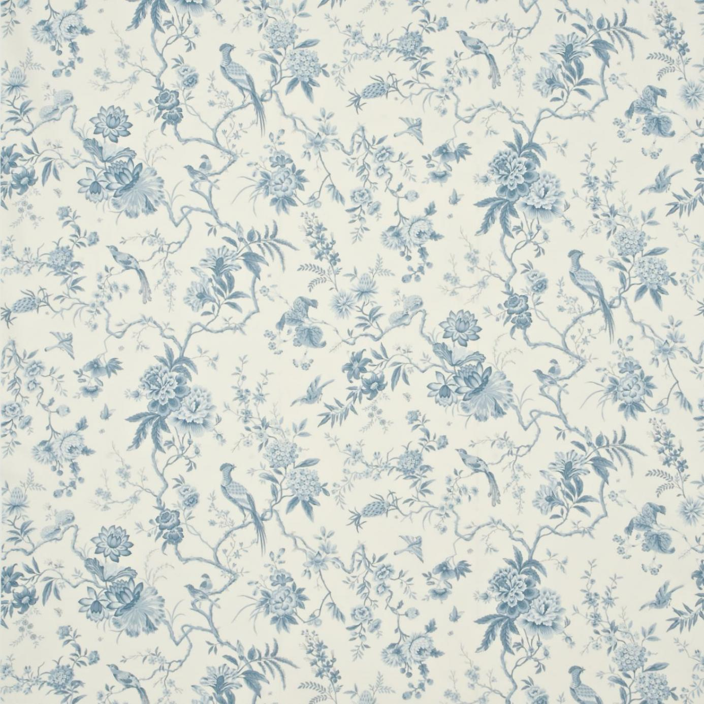 pillemont toile fabric ivory china blue dpempi203