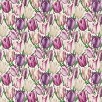 Early Tulips Fabric - Purple/Plum