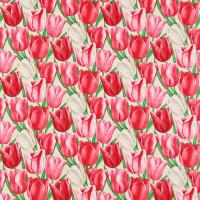 Early Tulips Fabric - Cherry/Red