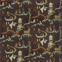 Pagoda River Fabric - Fig/Orange