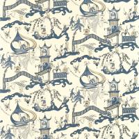 Pagoda River Fabric - Indigo/Blue