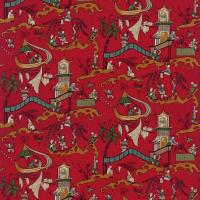 Pagoda River Fabric - Red/Gold