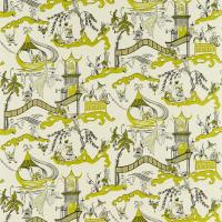 Pagoda River Fabric - Lime/Taupe