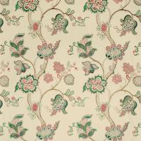Roslyn Embroidery Fabric - Emerald/Rose
