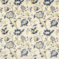 Roslyn Fabric - Indigo/Gold
