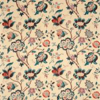Roslyn Fabric - Teal/Cherry