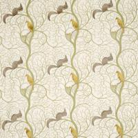 Squirrel and Dove Embroidery Fabric - Sage/Neutral