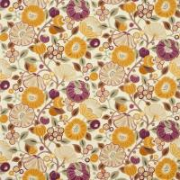 Tree Poppy Fabric - Damson/Gold