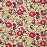 Tree Poppy Fabric - Red/Plum
