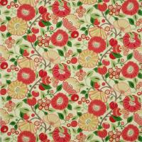 Tree Poppy Fabric - Tomato/Olive