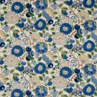 Tree Poppy Fabric - Indigo/Emerald