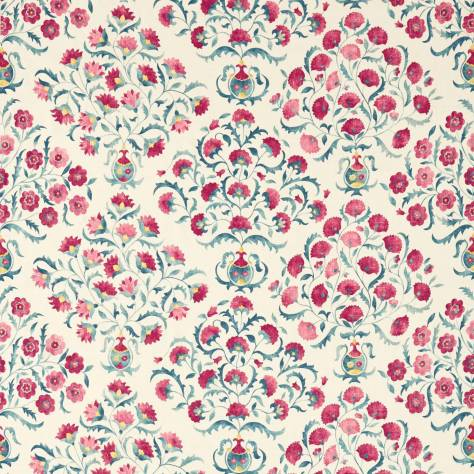 Sanderson Sojourn Prints & Embroideries Fabrics Ottoman Flowers Fabric - Cherry/Indigo - 225348 - Image 1