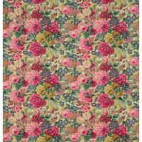 Rose & Peony Fabric - Red (Linen)