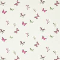 Butterfly Voile Fabric - Fuchsia/Cream