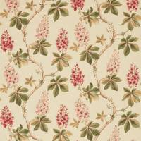 Chestnut Tree Fabric - Coral/Bayleaf