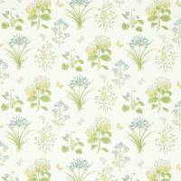 Harebells & Violets Fabric - Lemon/Teal