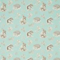 Squirrel & Hedgehog Fabric - Sky Blue/Pebble