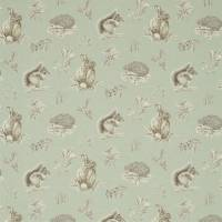 Squirrel & Hedgehog Fabric - Seaspray/Charcoal