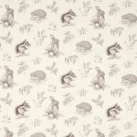 Squirrel & Hedgehog Fabric - Walnut/Linen