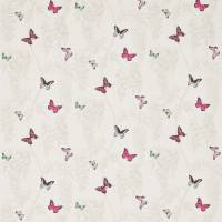 Wisteria & Butterfly Fabric - Fuchsia/Parchment