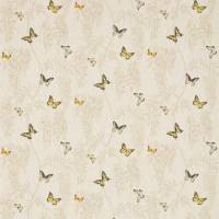 Wisteria & Butterfly Fabric - Linen/Citrus