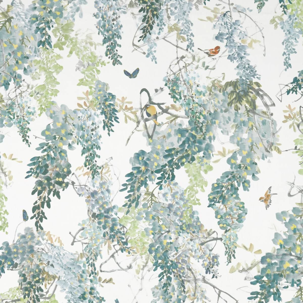 Sanderson Waterperry Prints & Embroideries Fabrics Wisteria Falls Fabric - Mineral - 226287. Loading zoom