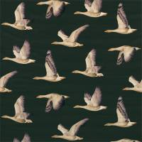 Elysian Geese Fabric - Forest/Fig