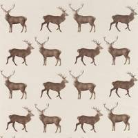 Evesham Deer Fabric - Linen/Chalk