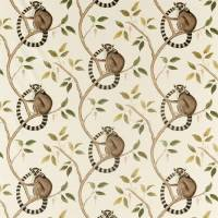 Ringtailed Lemur Fabric - Olive
