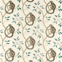 Ringtailed Lemur Fabric - Grey