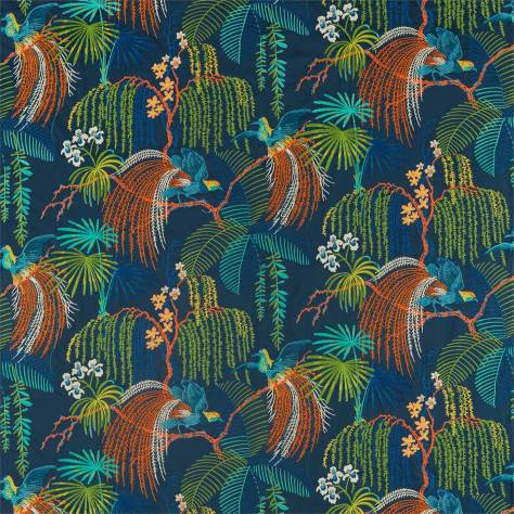 Sanderson Glasshouse Fabrics Rain Forest Embroidery Fabric - Tropical Night - 236778