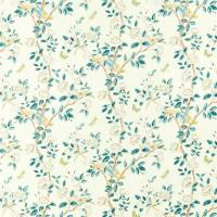 Andhara Fabric - Teal / Cream